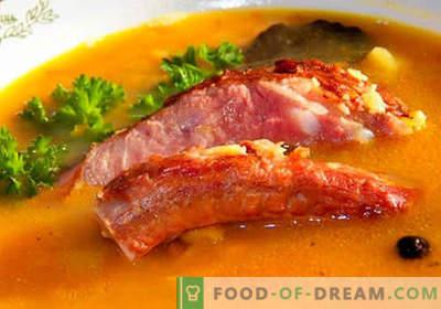 Varkensvleessoep - de beste recepten. Hoe goed en smakelijk soep koken in varkensbouillon.
