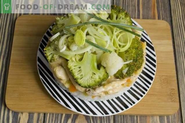 Rundstroganoff met prei, rijst, broccoli en bloemkool