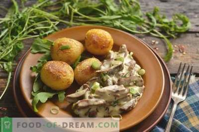 Pork kidneys in sour cream with onions and potatoes