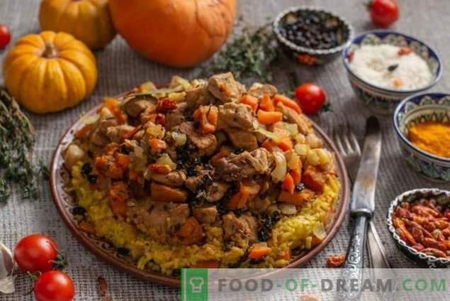 Kruidige pilaf met pompoen en vlees op de Azerbeidzjaanse manier