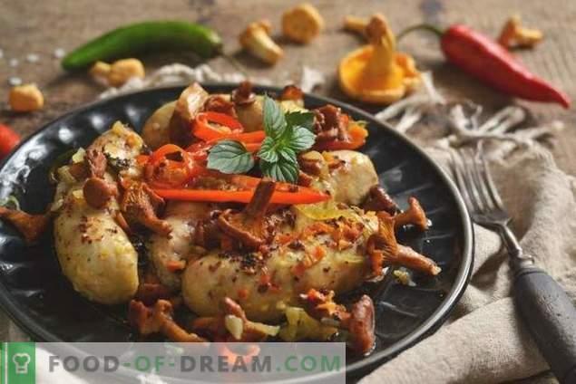 Kippenworst in de oven met champignons