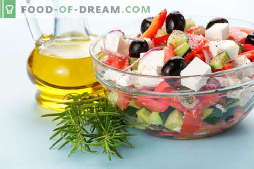 Ensaladas con aceite de oliva - una selección de las mejores recetas. Cómo preparar de forma adecuada y deliciosa las ensaladas con aceite de oliva.