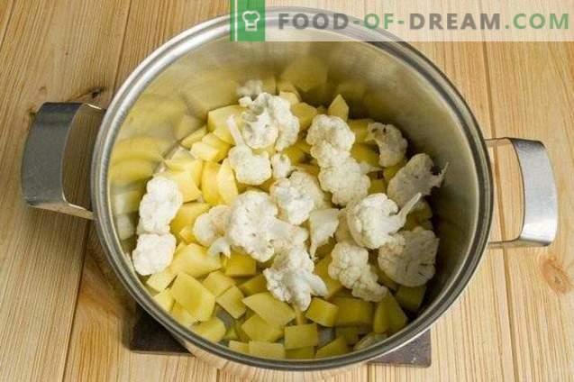 Vegetarische borsch met bloemkool en courgette
