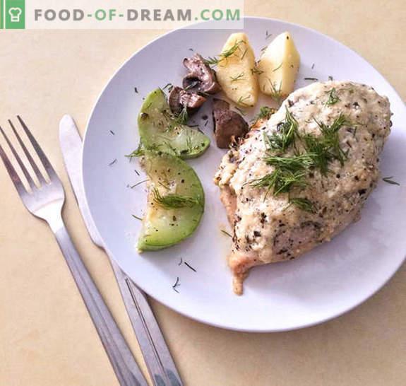 Vištienos krūtinėlė kreminės sūrio padaže su daržovėmis - receptas su nuotraukomis
