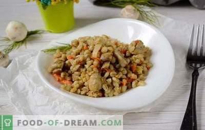 Gerst met champignons in een multikoker: een vaste maaltijd. Snel en heel eenvoudig: een fotorecept voor het maken van gerst met champignons