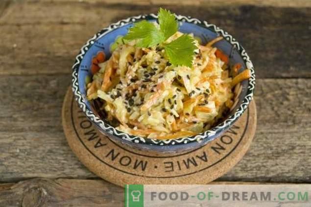 Gemakkelijke kipsalade met kaas en wortelen