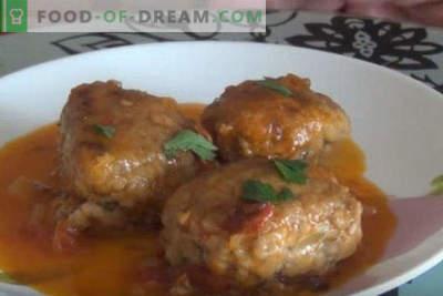 Zelf gehaktballen koken met jus in een koekenpan, in zure roomsaus, zonder rijst, met kip