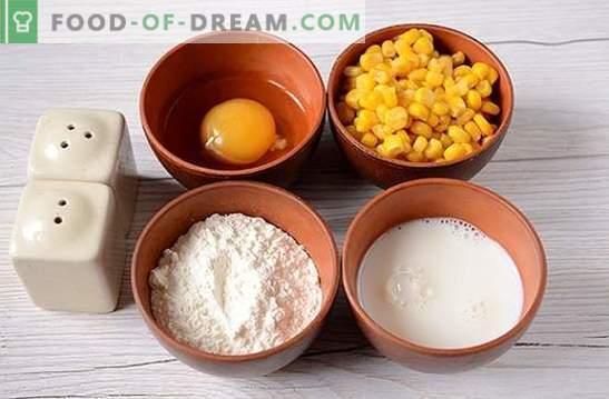 Fritters met maïs: gebruik ingeblikte maïs uit de blikken! Stapsgewijze fotorecept van de auteur voor pannenkoeken met maïs op kefir