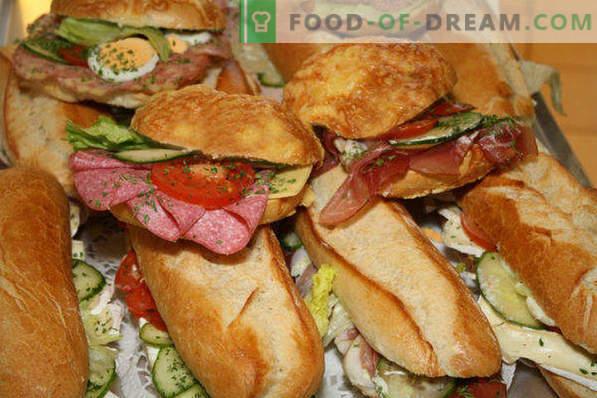 20 soorten broodjes voor de tafel, recepten met foto's, met rode vis, haring, kaviaar, warm, hapjes