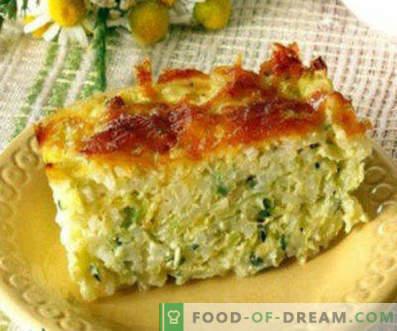 Recepten voor het koken van courgette in de oven, gevuld met groenten, stoofschotels, boten