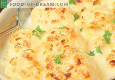 Bloemkoolbraadpan in de oven, recepten met kaas, ei, kip, gehakt, courgette