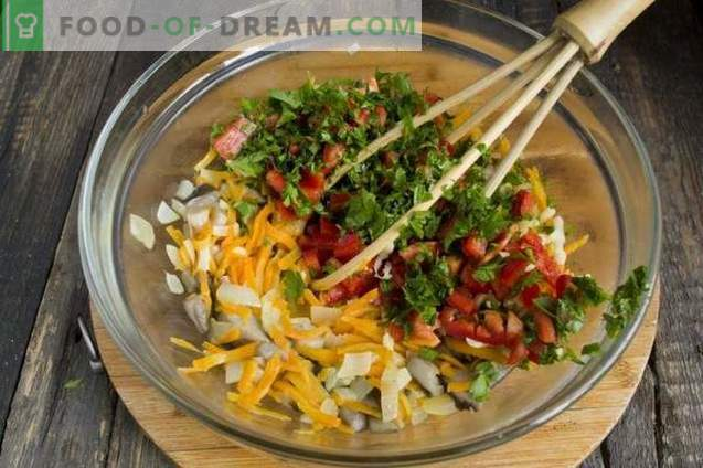 Taart met champignons op kefir