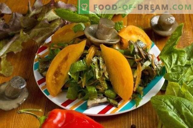Lenten salade met gegrilde champignons