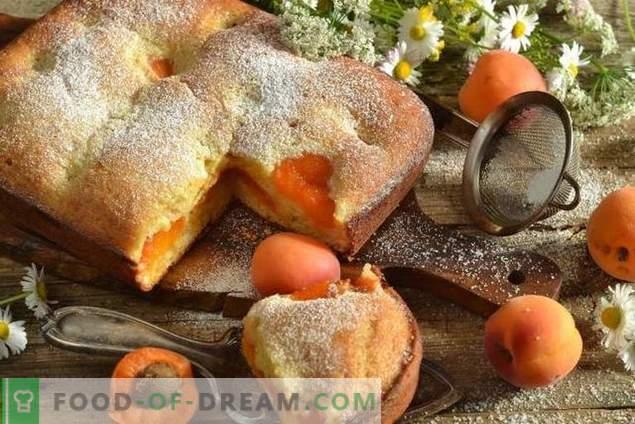Charlotte op kefir met ingeblikte abrikozen
