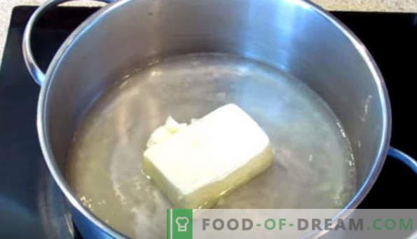 Choux gebak voor eclairs, recepten op melk, margarine, plantaardige olie