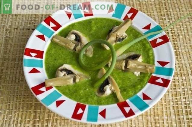 Crèmesoep met spinazie, knoflookpijlen en champignons