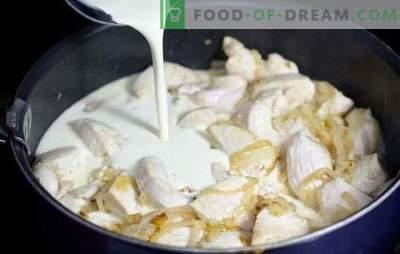 Kip in een roomsaus in een pan is zacht! Kip koken in een romige saus in een pan met groenten, champignons, kaas