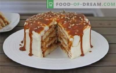 Honing, zand, biscuit en wafeltaarten met gecondenseerde melk. Recepten voor cakes met gecondenseerde melk