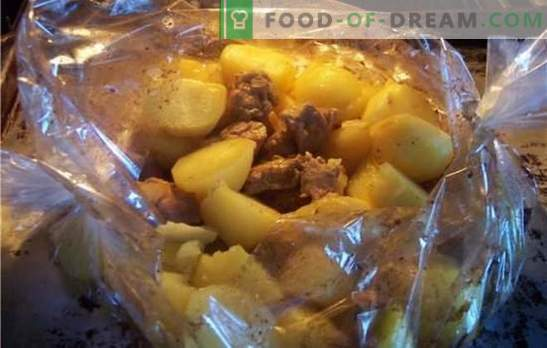 Varkensvlees met aardappelen in de oven in de hoes - heet? Recepten van varkensvlees met aardappelen in de oven in de hoes met kaas, groenten, mosterd