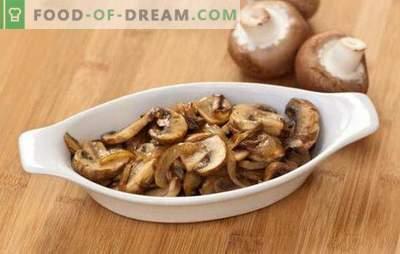 Gebakken champignons met uien - eenvoudig en lekker, snel en mooi! Een selectie van populaire recepten van gebakken champignons met uien