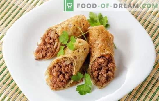 Pannenkoeken met vlees: stapsgewijze recepten voor melk, kefir en gist. Pannenkoeken met vlees of pripeykom koken (stap voor stap)