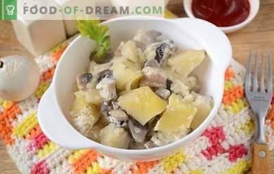 Aardappelen met champignons in de oven met zure room - een aromatische en voedzame schotel. Stapsgewijze fotorecept van de auteur van gebakken aardappelen met champignons