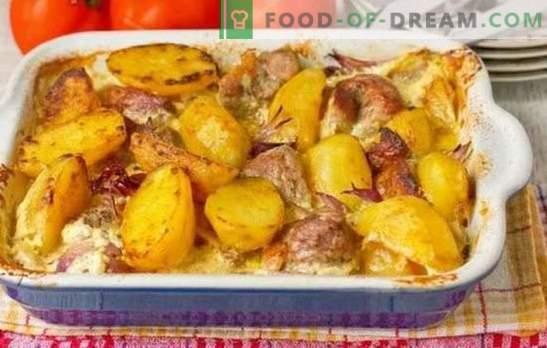 Varkensvlees thuis met aardappelen is heel eenvoudig. Gebakken, gestoofde en gebakken varkensgerechten thuis met aardappelen