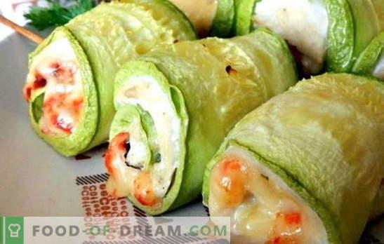 Borst met courgette - gezond en smakelijk. 7 van de beste recepten van de borst met courgette: onder kaas, zure room, room, met champignons