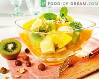 Fruitsalade - de beste recepten. Hoe u fruitsalades op de juiste en heerlijke wijze kunt bereiden.