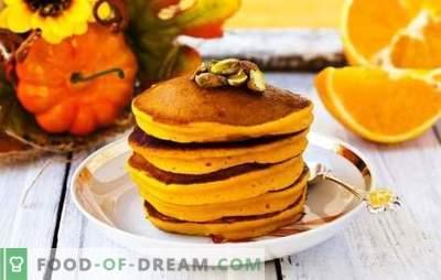 Pompoenspannenkoeken - zonnen uit de pan! Recepten heldere en geurige pompoenpannekoeken met melk, kefir, water