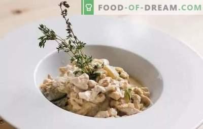 Fricassee: класични рецепти со пилешко, зајак, печурки, аспарагус. Како брзо да готвите фрики според класични рецепти