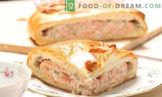 Bladerdeeg met viskoekjes is een geweldige oplossing! Recepten van verschillende vissentaarten uit bladerdeeg met aardappelen, eieren, rijst, kaas