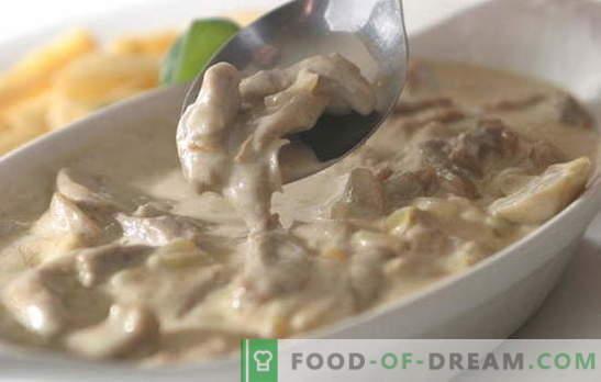 Vlees in room is erg moeilijk te verwennen. 9 beste recepten voor verschillende soorten vlees in een romige saus: kip, rund, varken