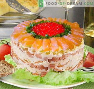 Koninklijke salade met zalm - de juiste recepten. Snel en smakelijk kook Royal salade met zalm.