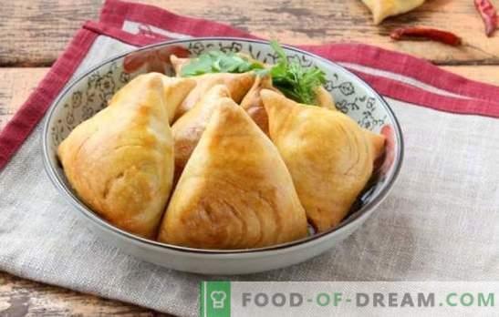 Samsa Oezbeeks - bakken komt uit het oosten. De beste recepten voor bladerdeeg Oezbeekse samsa met lam, aardappelen, pompoen en kip