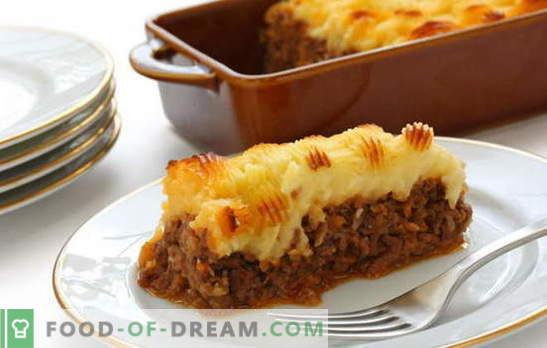 Aardappelschotel met vlees in de oven - voed iedereen! Het koken van heerlijke en verschillende aardappelpannen met vlees in de oven