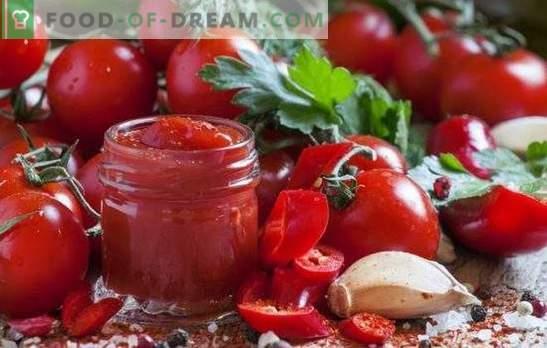 Zelfgemaakte ketchup - dit is handig en vrij eenvoudig. Interessante recepten van zelfgemaakte ketchup van tomaten, paprika's, kruisbessen, appels, pruimen en kersen