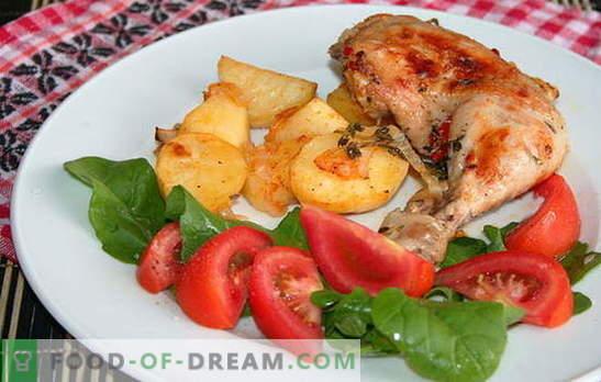 Originele recepten voor pittige kippenpoten met aardappelen in de oven. Ham met aardappelen in de oven: smakelijk, snel en gemakkelijk