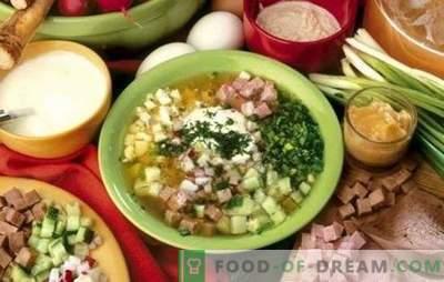 Okroshka op het water - heerlijke koude soep. Recepten okroshka op water met azijn, zure room, mayonaise