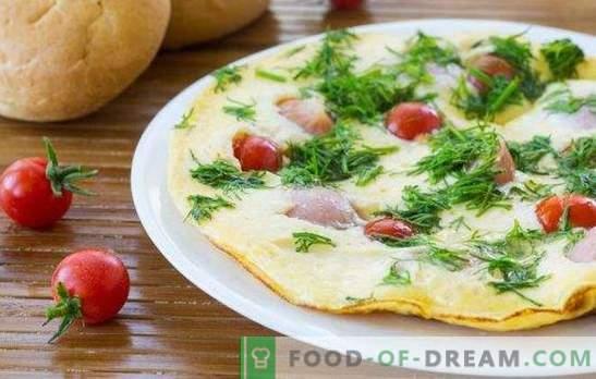 Omelet met worstjes - een eenvoudig en uitgebreid ontbijt! Heerlijke omeletten koken met worstjes in de oven, magnetron, slowcooker en pan