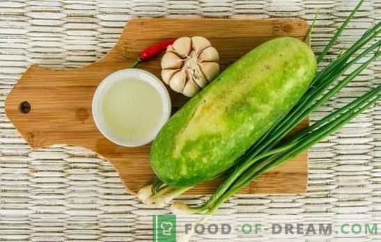 Courgette met knoflook: smakelijk, eenvoudig, caloriearm. Hoe elke dag en feestelijke gerechten van courgette koken met knoflook
