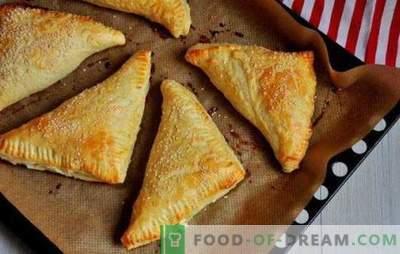 Rookwolken met wrongel: zoet, zout, in de oven en in een bakplaat. Recepten voor verschillende bladerdeeg met cottage cheese