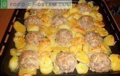 Gehaktballen met aardappelen - een culinair product. De beste recepten voor gehaktballen met aardappelen: met tomaat, groenten, kaas, zure room