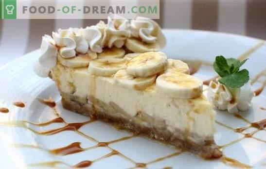 Banana Cheesecake - Royal Dessert! Recepten van echte bananenkwarktaart van kaas en kwark: met bakken en zonder bakken