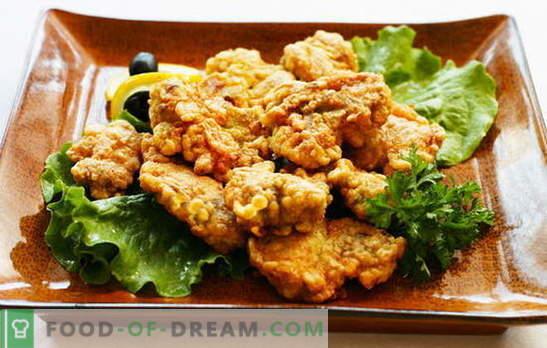 Vlees in beslag - schoonheid! Recepten vlees in beslag: zuivel, bier, kaas, met Chinese saus, met sesamzaad, aardappelen