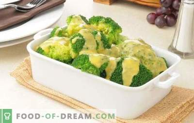 Broccoli in een romige saus met nootmuskaat, kaas, champignons. Recepten gekookte en gebakken broccoli in roomsaus