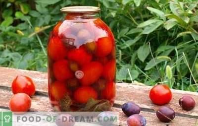 Tomaten met pruimen voor de winter - we zullen ons de zomer herinneren! Recepten en geheimen van het koken van blanco tomaten met pruimen voor de winter