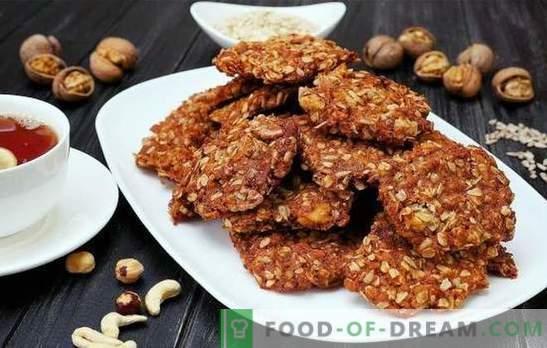 Zo maakt u snel heerlijke havermoutkoekjes met noten voor thee. Geheimen van het maken van havermoutkoekjes met noten