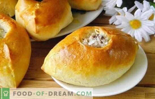 Taarten met rijst - heerlijke Russische gebakjes. Recepten pastei met rijst, groene uien, vis, gehakt en champignons
