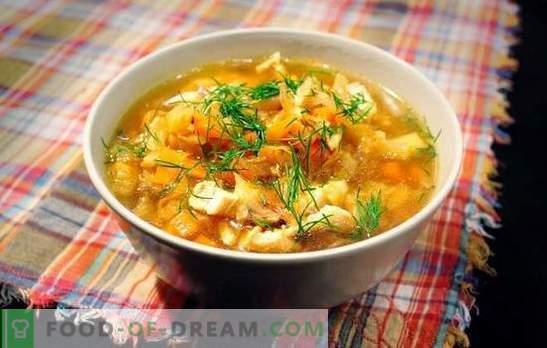 Zuurkoolsoep met varkensvlees is voor altijd een Russisch gerecht. Recepten voor koolsoep uit zuurkool met varkensvlees, champignons, bonen, millet